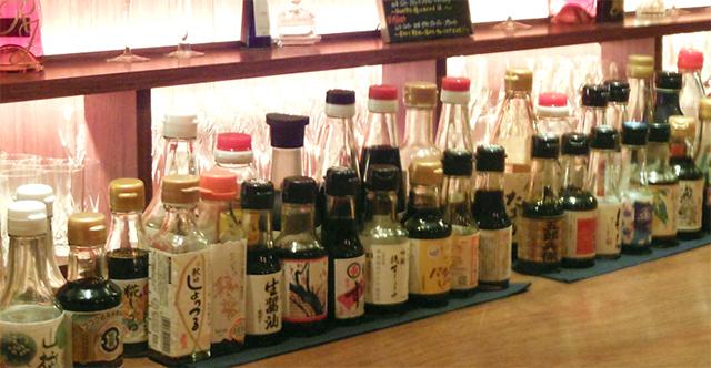 フルートフルートにあるお醤油たち ※シャンパン&醤油BAR フルートフルートオフィシャルサイトより