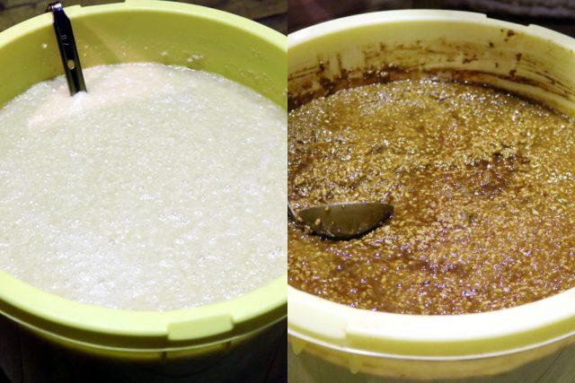 「塩麹は塩と麹と水を合わせて、醤油麹は天然醸造の醤油と麹を合わせて発酵させています。醤油麹は仕込んで2週間くらいから、塩麹はそれより少し後くらいからが美味しいですね。こちらが2週間ほど熟成させたものです」と、公文料理長は発酵中の塩麹と醤油麹を見せてくださいました。