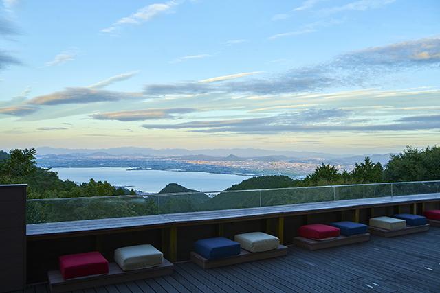 ロテルド比叡「山床カフェ」から望む琵琶湖