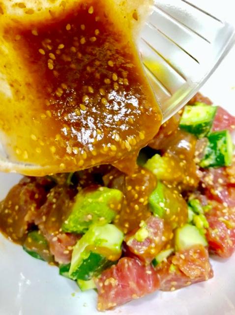 作り方(2人分)│マグロとアボカドの醤油麹ポキ丼
