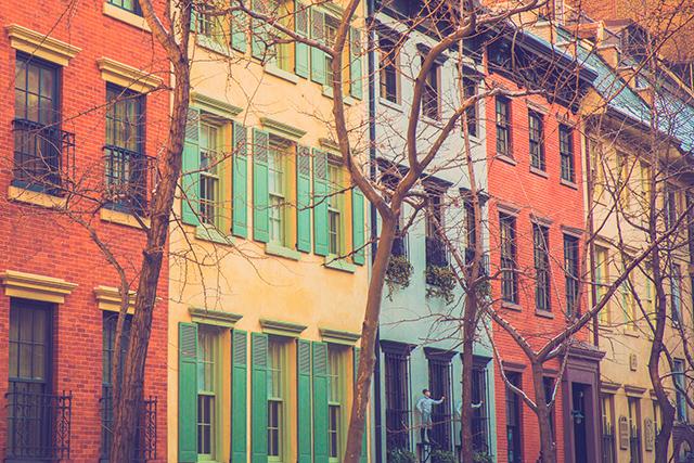 ニューヨーク、ユニオンスクエアから北の辺りの閑静な住宅地、グラマシー地区