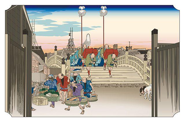 日本橋 朝之景 東海道五拾三次 歌川広重