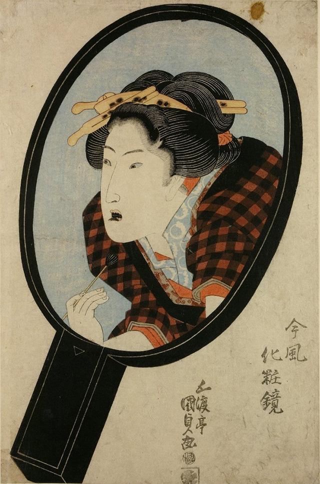 お歯黒の化粧をする女性 (『今風化粧鏡』、五渡亭国貞画)