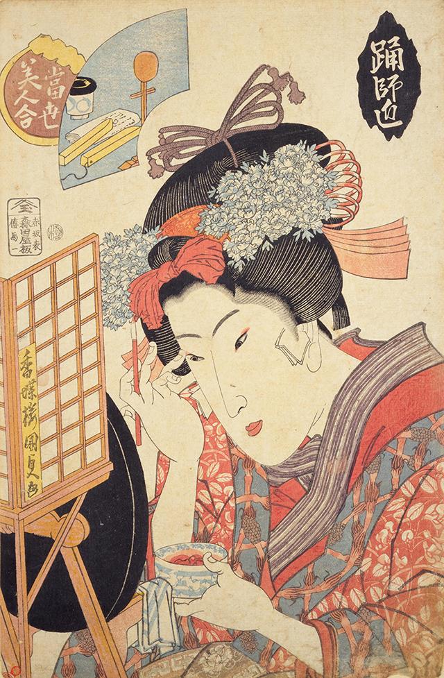 江戸時代に化粧に用いられた色はたった三色だけ。紅の赤、おしろいの白、眉墨とお歯黒の黒のみ。