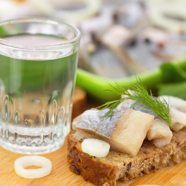 Sandwich with herring fillet and glass of vodka_So Cold I'm Fermenting My Surströmming Off!:haccola Japanese fermented foods and cuisine
