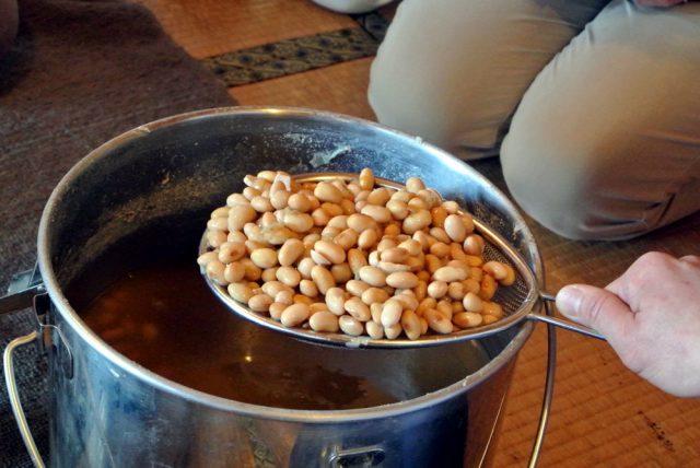 味噌仕込み、在来大豆をつぶす、切る、まぜる。