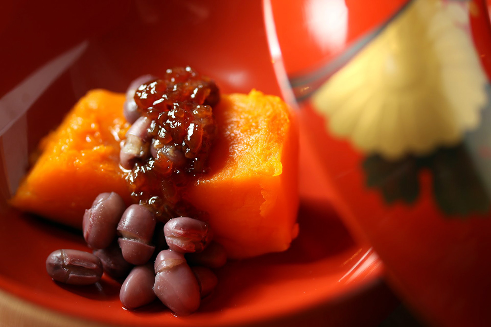 かぼちゃと小豆のいとこ煮 醤油麹みたらしあんかけ
