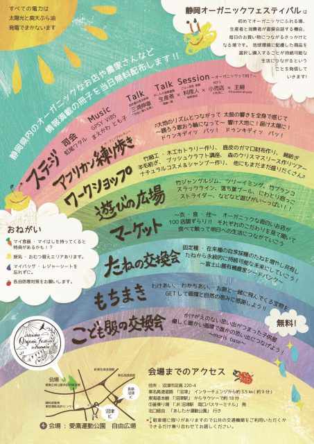 「静岡オーガニックフェスティバル in 沼津 ~つながる~」フライヤー裏