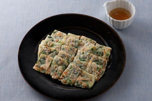 干しえびと納豆のチヂミ