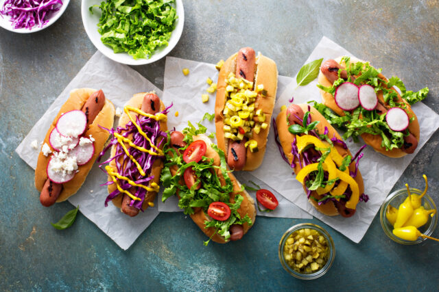 Variety of hot dogs with healthy garnishes:Classic reuben sandwich, served with dill pickle, potato chips, horizontal:Relish Life's Sweet and Sauer Moments with a Sandwich:haccola Japanese fermented foods and cuisine