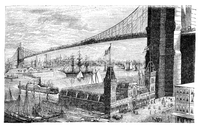 """Brooklyn bridge in New York. Illustration originally published in Hesse-Wartegg's """"Nord Amerika"""", swedish edition published in 1880. The image is currently in public domain._Bagels Are a Perfect Fit For Life On the Go:haccola Japanese fermented foods and cuisine"""