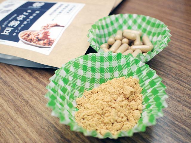 福岡市の「そのもの株式会社」さんはパウダー状の納豆「こな納豆」をヨーグルトにかけて試食を振る舞われてました。