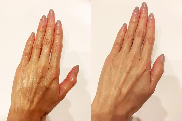 今回作った「甘酒ハンドクリーム」は、塗った直後(写真左)から、すぐに手肌に馴染んで(写真右)しっとり仕上がります。