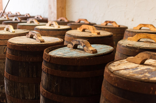 Barrels in the ageing room.
