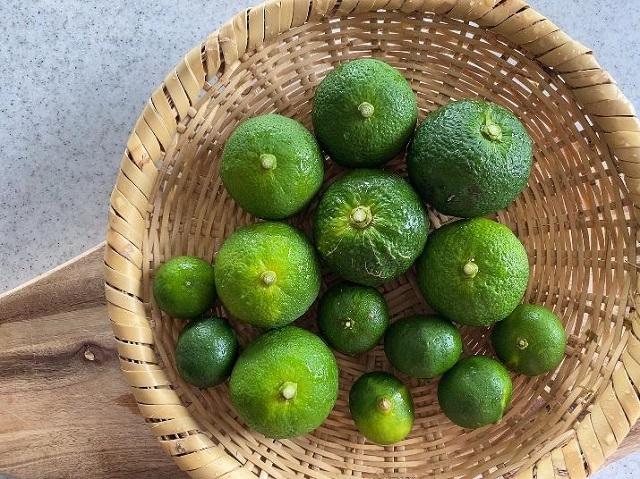 1、柑橘類(かぼす、ゆず、へべす、シークワーサーなど)を準備し、よく洗う。