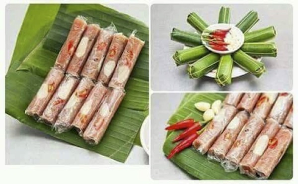 """""""Nem chua"""" (Northern dialect) or """"nem"""" (Central and Southern dialect) is a Vietnamese fermented pork dish that uses pork, yeast of leaves and roasted rice powder for ripening, so has featured sour taste."""